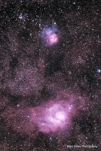Lagoon and Trifid Nebula in Sag, six hour exposure, June 18-19. 2015
