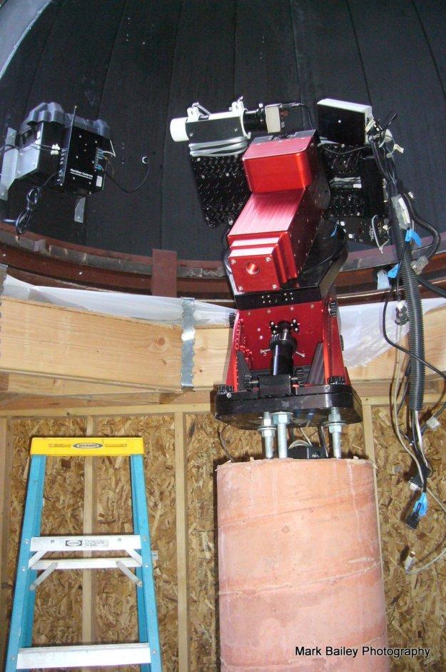 Progress. Robotic telescope mount on its new pier. 2/12/2017